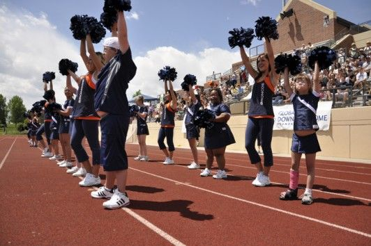 Link2....Global Down Syndrome Foundation Denver Broncos Cheerleaders Dare to Cheer Camp in Denver, Colorado.  The camp, for individuals 7 to 35, runs for five to seven weeks with professional Denver Bronco Cheerleaders instructing the campers at Sports Authority Field at Mile High for 1 ½ hours per week. In the last week, the campers get to show off their skills to an audience of more than 400 people at a football game held at Valor Christian High.