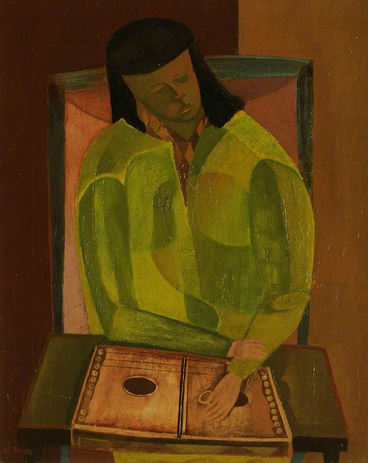 robert macbryde(1913–66), girl playing a zither. oil on canvas, 49.5 x 39.2 cm. the maclaurin trust, uk http://www.bbc.co.uk/arts/yourpaintings/paintings/girl-playing-a-zither-214357
