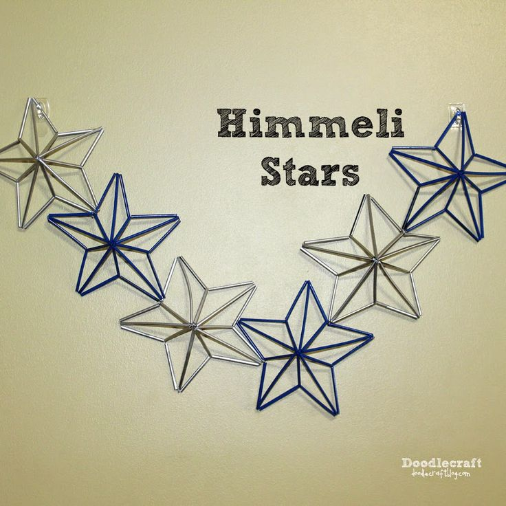 Himmeli Patriotic Stars!  recycle straws DIY tutorial doodlecraft