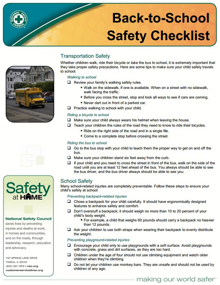 Backtoschool Safety Checklist From The National Safety