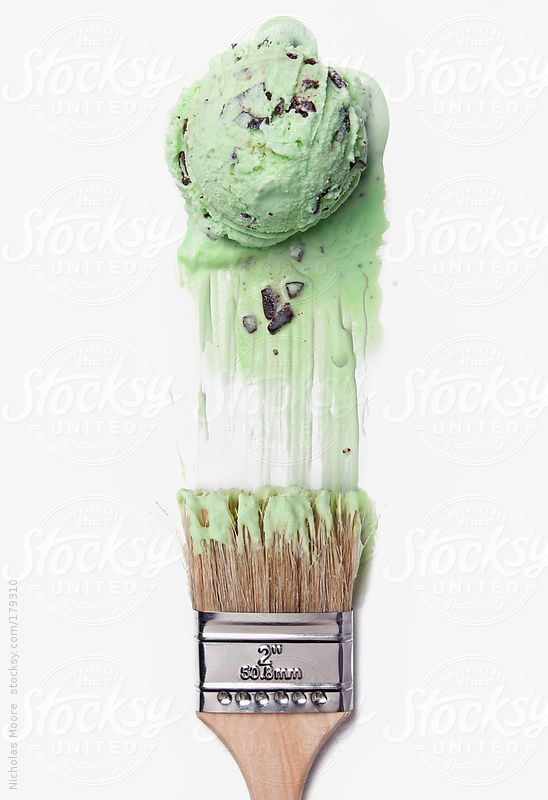 Paint brush making strokes with mint chocolate