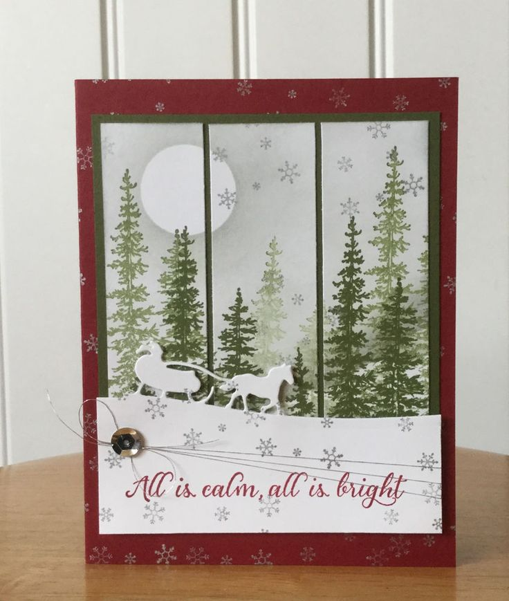 Christmas card kit -Christmas scense with santa sleigh - md w/ Stampin Up prod