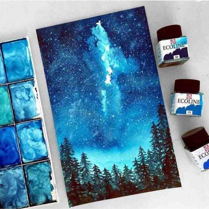 pintura con acuarelas tonos frios cielo noche bosque                                                                                                                                                                                 Más