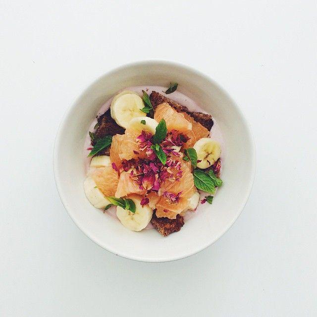 salads. Banana week: banana, grapefruit, raspberries cashew yogurt ...