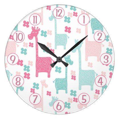 Giraffe Pink Mint Aqua Teal Wall Clock - girl gifts special unique diy gift idea