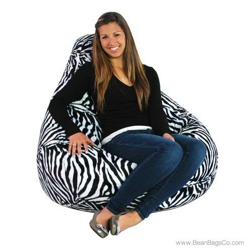 Soft Velvet Animal Print Adult Pure Bead Bean Bag Zebra | On SALE: $94.99 + FREE Shipping, Fast Delivery, No Sales Tax!