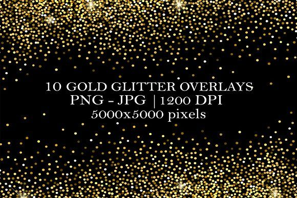 10 Gold Glitter Overlays By Creativeland On Creativemarket