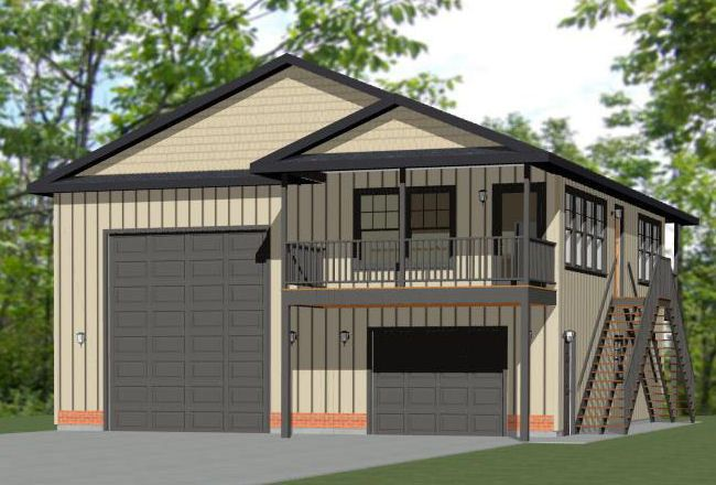 36x40 Apartment With 1 Car Rv Garage 902 Sqft Pdf Floor Plan Model 1b Bill S Style Board Barn Living