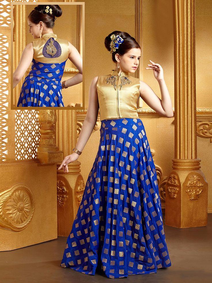 Royal Blue Silk Classy Lehenga Choli Gowns For Girls