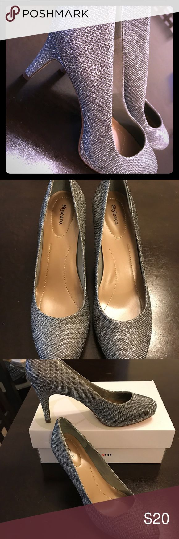 BRAND NEW silver sparkly heels BRAND NEW silver sparkly high heeled shoes size 8 in box. Shoes Heels