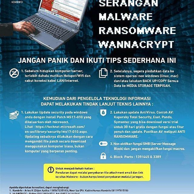 Penting banget ni guys.  #Repost @kemenkominfo ・・・ Jangan panik. Antisipasi serangan Malware Ransomeware Wannascript dengan tips sederhana ini.. --- #malware #ransomware #wannascript #tips #virus #networksecurity #informationsecurity #G1ndonesia #G_Indonesia #G_IndonesiaNews #g_1ndonesia #gcommunications #publicrelations #infographic #world #indonesia #teknologi #informasi #nusantara  #socialmediamarketing #socialmedia #instagram #internet #teknologiinformasi