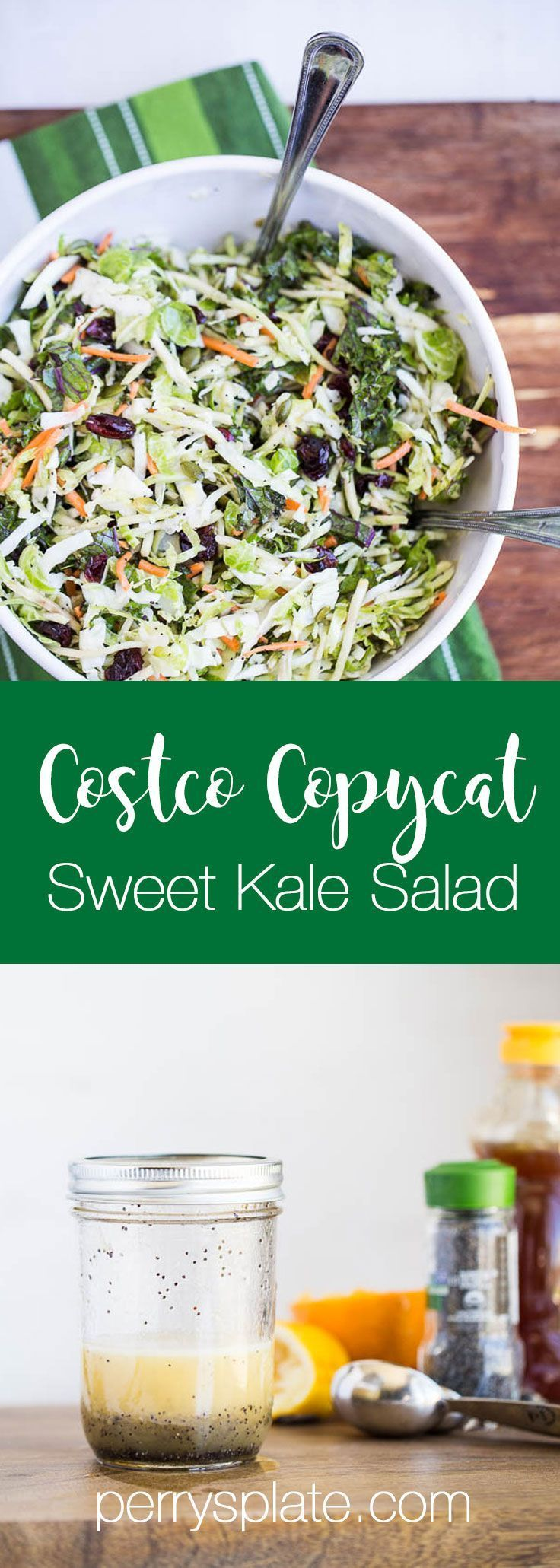 Your favorite Costco salad kit with a healthy, soy-free dressing!   salad recipes   kale recipes   paleo recipes   perrysplate.com