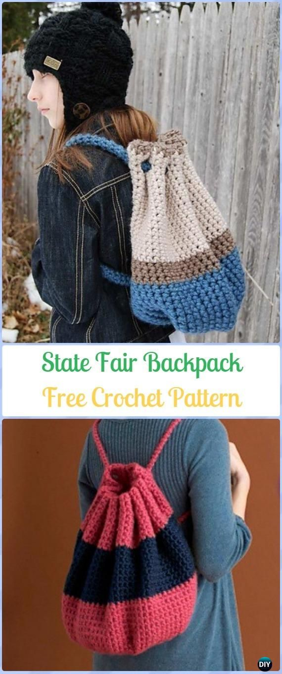 Crochet State Fair Backpack Free Pattern -Crochet Backpack Free Patterns Adult Version