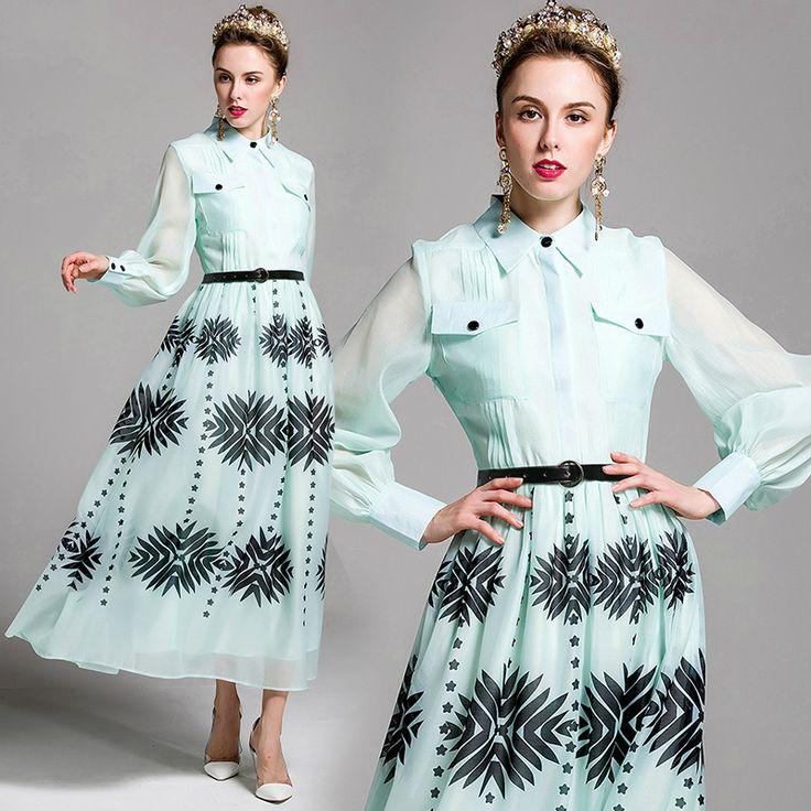 >> Click to Buy << Spring Europe Catwalk Printing Long Sleeves Chiffon Maxi Dress Women Plus Size 2017 Vestidos Ukraine Dresses Summer Dress #Affiliate