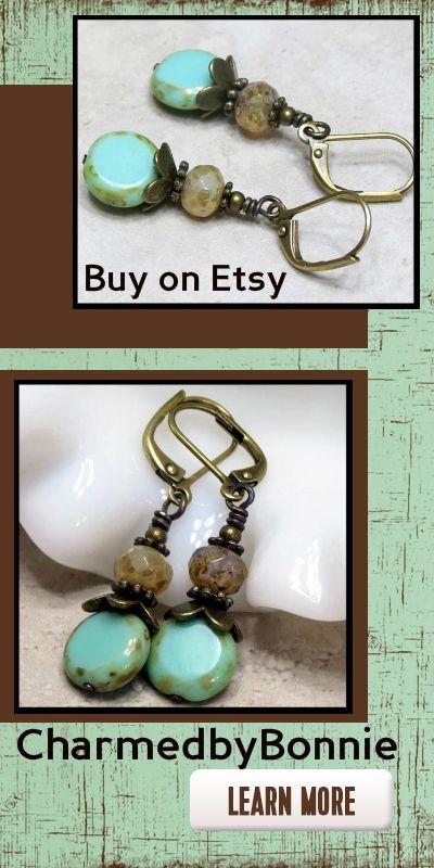 Boho Earrings, Rustic turquoise green dangle drop earrings. Antiqued bronze Leverback. #SpecialTweek #fashion #jewelry #ideas #style