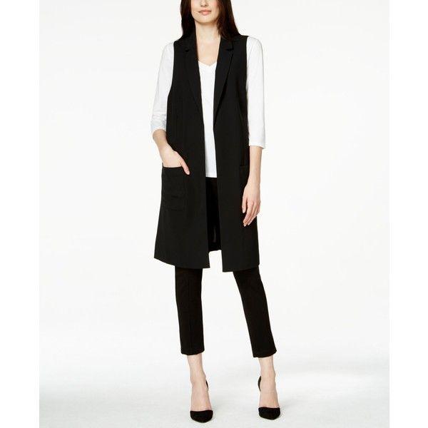 Alfani Long Duster Vest, ($90) ❤ liked on Polyvore featuring outerwear, vests, black, vest waistcoat, black vest, long waistcoat, black waistcoat and alfani vest
