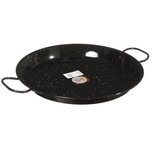 La Paella 16-Inch Enameled Steel Paella Pan by La Paella. $35.00. Enameled steel requires no special maintenance; easy to clean; dishwasher safe; will not rust. Enameled steel requires no special maintenance. easy to clean. dishwasher safe. will not rust.. Authentic paella pan. made in spain.. The pan comes with an informative pamphlet that contains two recipes, tips for perfect paella, and care instructions. Safe for use on the stovetop, in the oven, or on a grill...