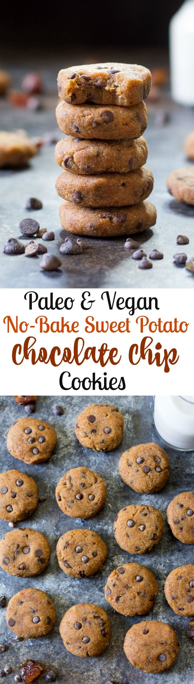Paleo & Vegan sweet potato no bake chocolate chip cookies that are sweetened with dates and taste like the perfect edible cookie dough!