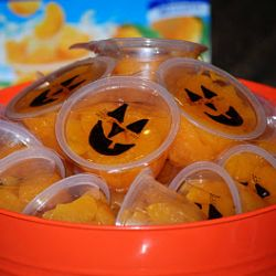 Fun for the little ones. Sharpie drawn on mandarin orange or peach lunch packs Polish The Stars: 119 Creepy Halloween Food Ideas