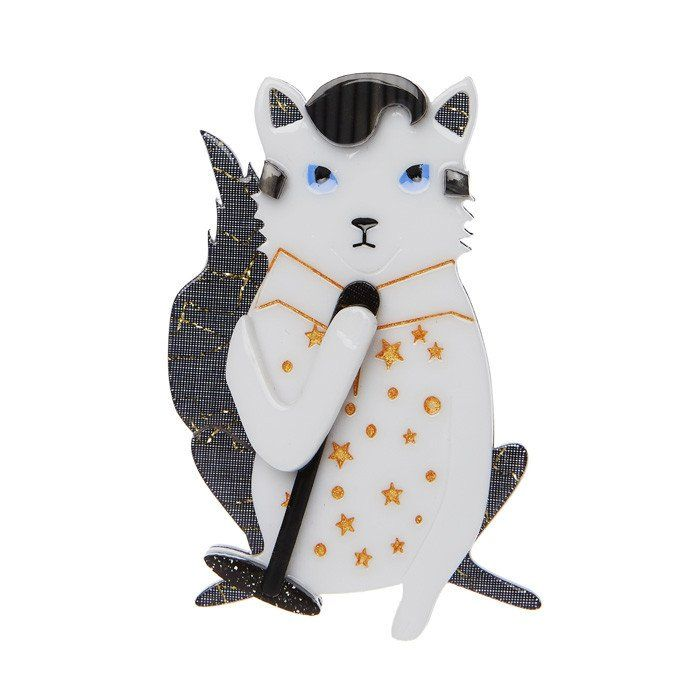From Erstwilder's I'm with the band collection, this is one Rock Kitty you won't want to return to sender.  Laser cut resin, hand assembled and hand painted, presented in a branded box as shown, with a cute teapot tag.