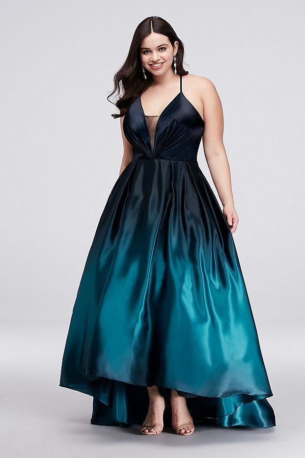 Strappy Satin Ombre High-Low Plus Size Ball Gown Prom Dress ...
