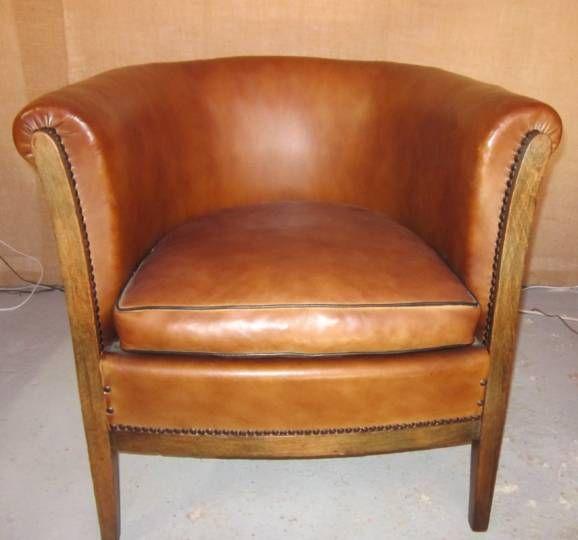 Fauteuil cabriolet en cuir vintage (13)