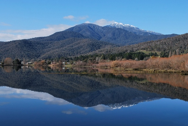 Mt. Bogong reflected in the Mt. Beauty Pondage by phunnyfotos, via Flickr