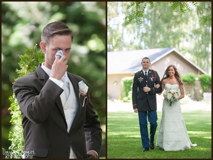 Danae Jones Photography - Yellow Gold Farm Wedding, Outdoor Wedding photos, Wedding under a tree, Oregon Weddings, Oregon Wedding photographers, groom crying, groom seeing bride for first time, walking down the aisle
