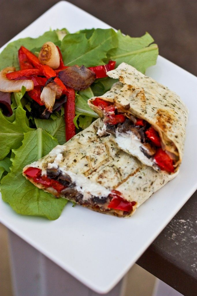 Grilled Portobello Mushroom, Roasted Red Pepper & Goat Cheese Wrap. Also great when you add Havarti or Muenster and make a paninni on sourdough.