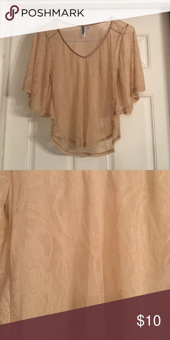 Nude lace batwing top Nude colored lace pattern batwing top. Delicate and pretty! Wurl Tops Blouses