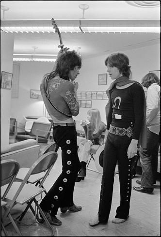 Mick Jagger and Keith Richards, The Glimmmer Twins, 1969, © Ethan Russell; Mick Jagger sports the zodiacal sign of Leo's glyph. (morrisonhotelgallery.com)