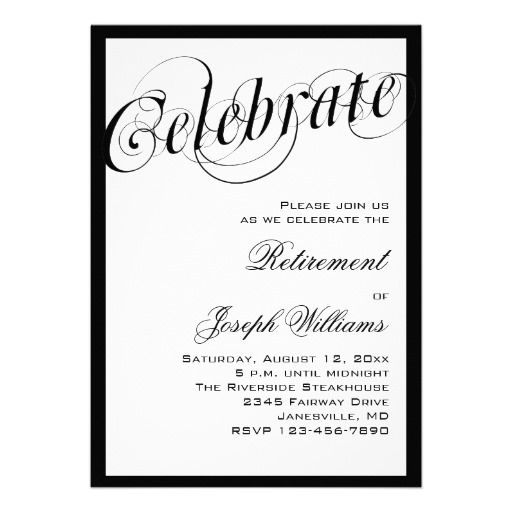 20 best black and white party invitations images on pinterest elegant black white retirement party invitations filmwisefo