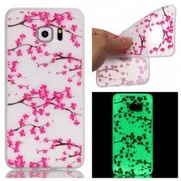 Samsung Galaxy S7 edge pinkit kukat silikonisuojus.