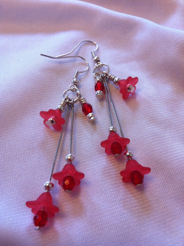 red summery earrings