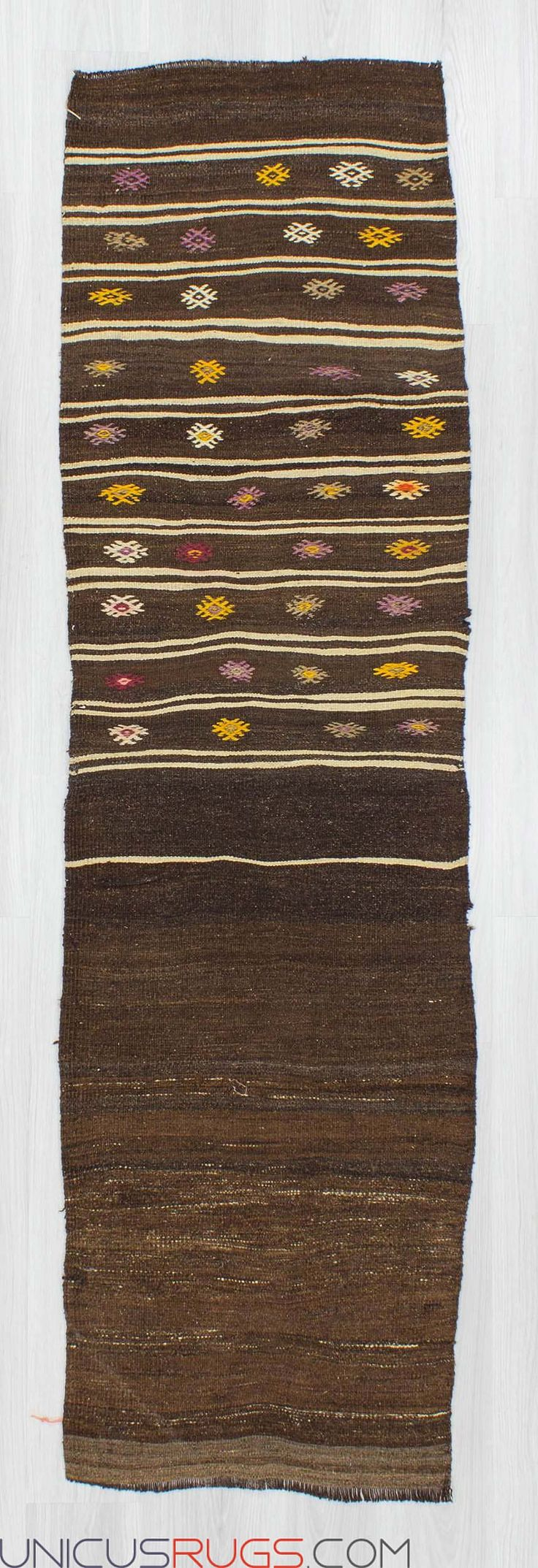 "Vintage kilim runner from Malatya region of Turkey. In good condition. Approximately 50-60 years old Width: 2' 3"" - Length: 7' 9"" RUNNERS"