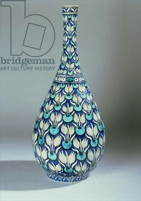 Iznik Design Ceramic Vase | Iznik-inspired bottle vase, manufactured by Maioliche Cantagalli, c ...