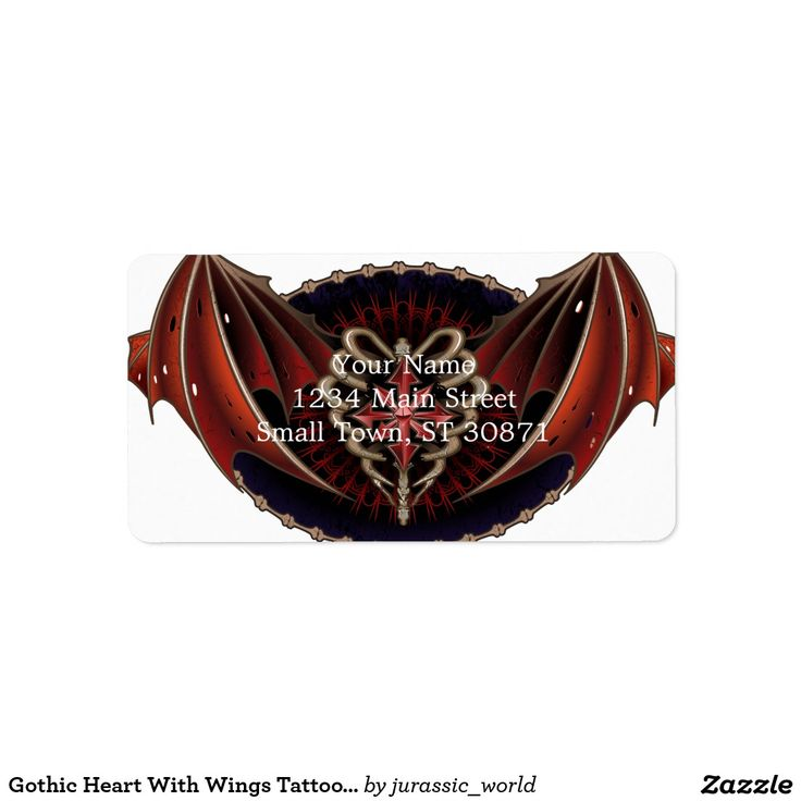 Gothic Heart With Wings Tattoo Design Label