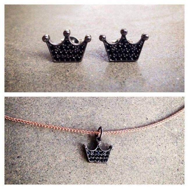 Set from Crown earrings and necklace as the company logo with spinel stones Price: 49€