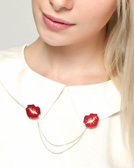 Acrylic Lips Kissing Collar Tips/ Collar Clips in by FABcessories, £11.00