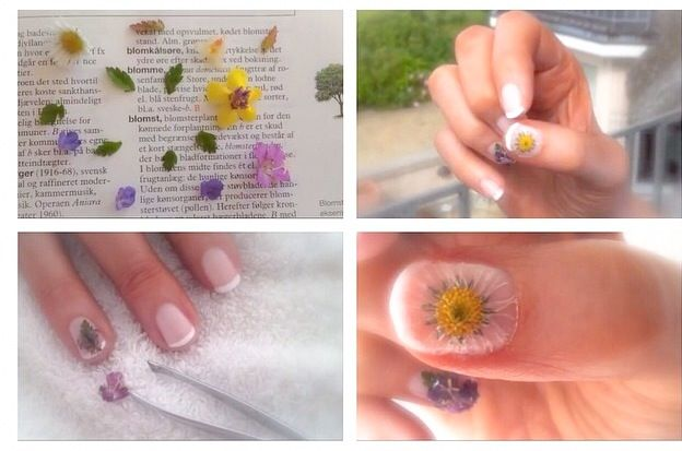 Use flowers and leaves as nail art!