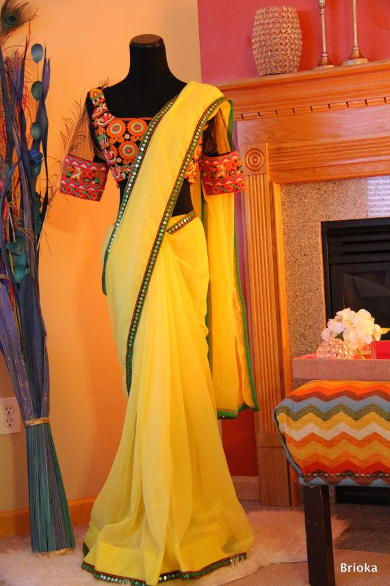 Yellow Chiffon Saree with Kutch work Blouse by Brioka on Etsy