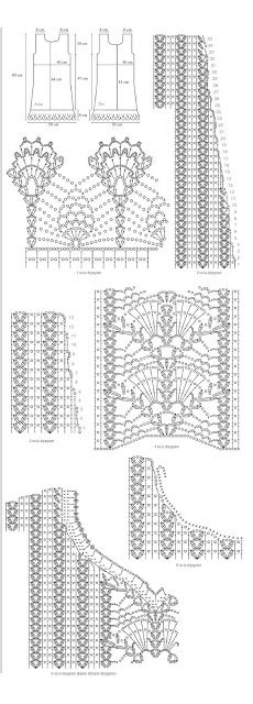 Crochet Dress Chart Pattern. ou Crochet Padrão Gráfico Vestido.