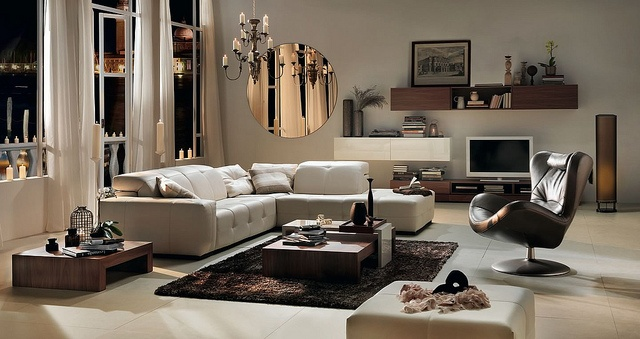 """Natuzzi Italia - Surround by CantoniDesign  I love this look ... with the round mirror.....  Follow all my """"Organized Spaces"""" boards at: http://pinterest.com/getorganizedDFW/boards/"""