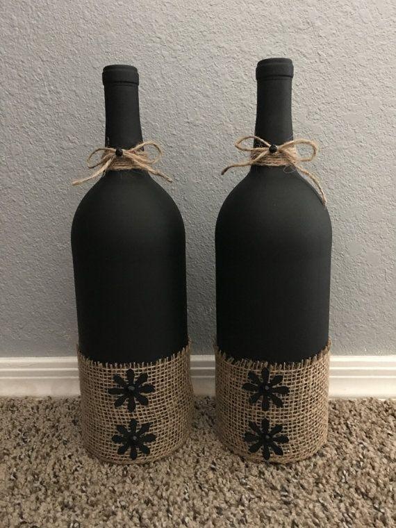 Decoración de la botella de vino por CustomBlissbyReginaC en Etsy