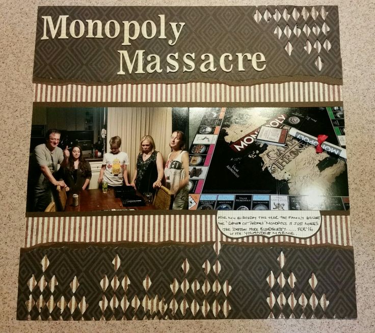 Monopoly scrapbook page.  Two 6x4 photos.  Paper by Basic Grey. Letters by Heidi Swapp...very old!!!! Die cut by Tim Holtz Thinlits.