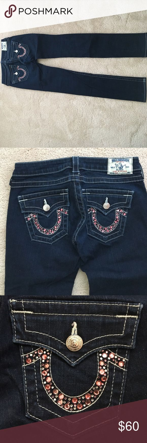 True Religion Skinny Jeans SHORT SALE! True Religion Skinny Julie Jeans with Pink and Purple Rhinestones on Back Pockets! These jeans were only worn twice and are good as new! True Religion Jeans Skinny