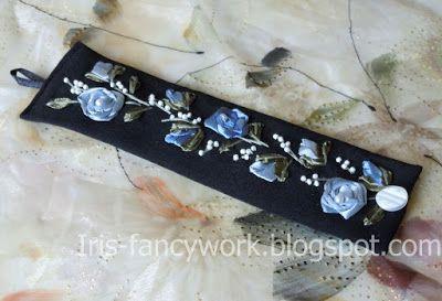 """My Fancywork Blog: Текстильный браслет """"Голубые розы и ландыши"""" вышит..."""