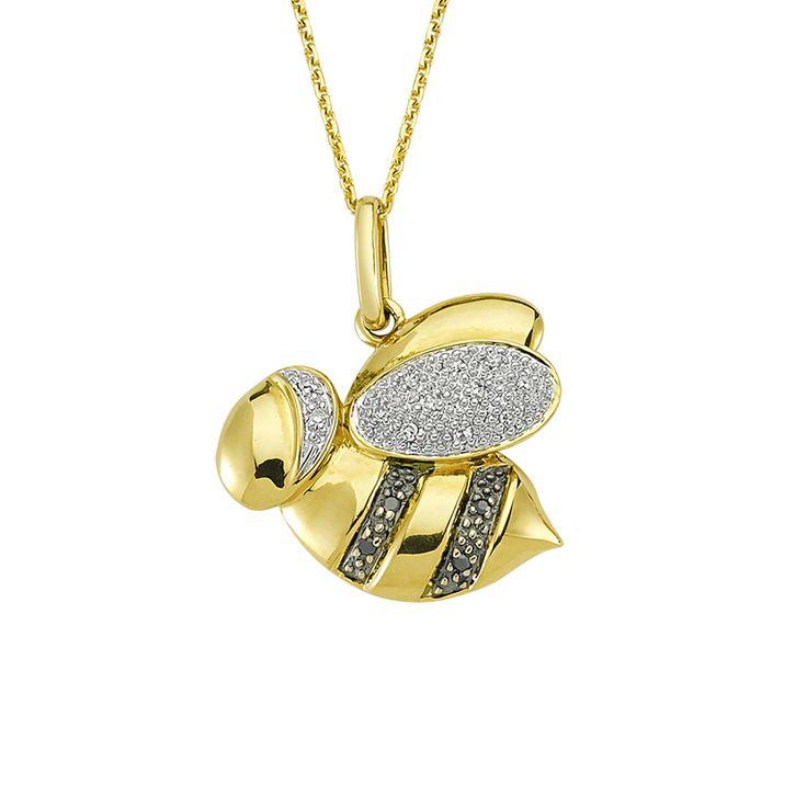 14 ayar altın üzerine siyah ve beyaz pırlanta taşlar bezeli arı motifli zincirli kolye.