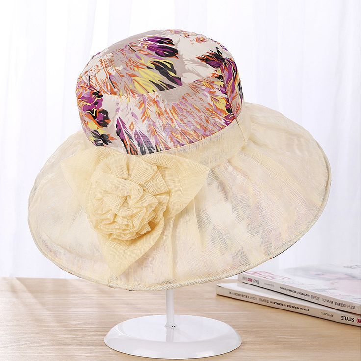 Women Summer Elegant Velvet Flowers Inkjet Wide Brim Floppy Bucket Hat Outdoor Sunscreen Fashion Cap