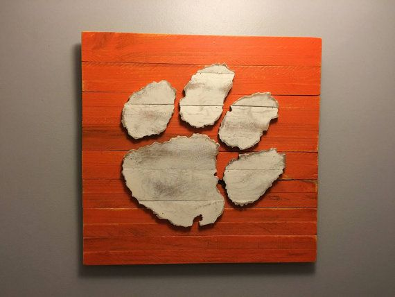Clemson Tiger Paw 3-D Wood Sign  Hand Made by barndoorstudios
